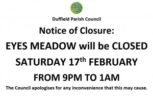 Notice of Closure: Eyes Meadow, Saturday 17th February, 9pm - 1am