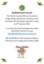 Duffield Parish Council: Christmas closure times